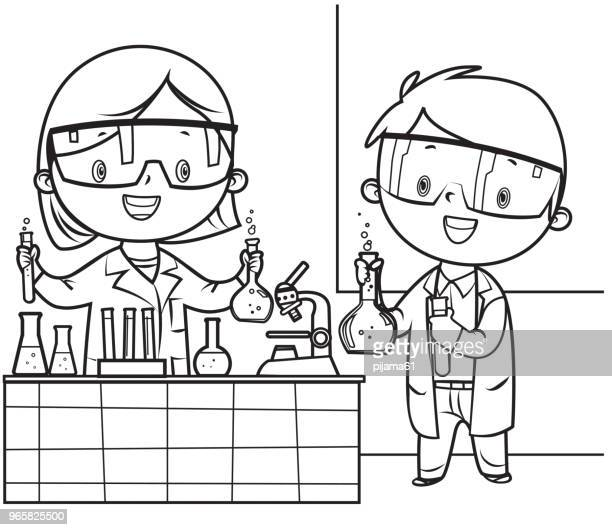 coloring book, little doctor and nurse - scientist stock illustrations