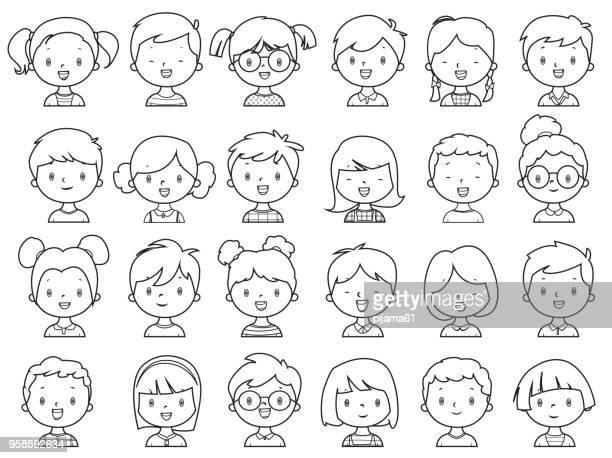 illustrations, cliparts, dessins animés et icônes de coloriages, petites filles et les garçons visage - petites filles