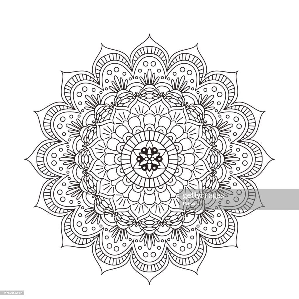 Coloring Book Mandala Kreisen Sie Spitze Ornament Rundem ...