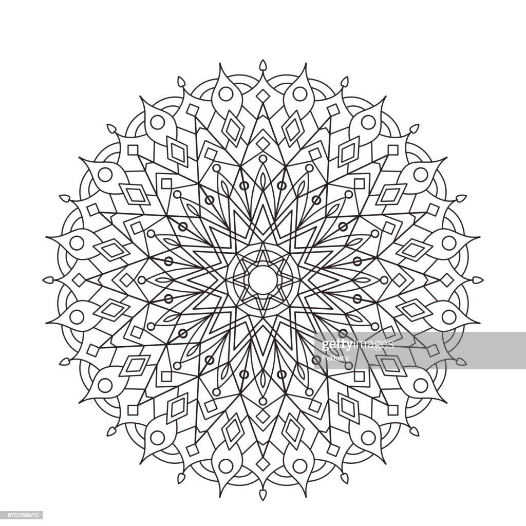Coloring Book Mandala Kreisen Sie Spitze Ornament Rundem