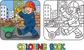 Coloring book of funny construction worker