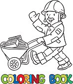 Coloring book of funny worker with cart