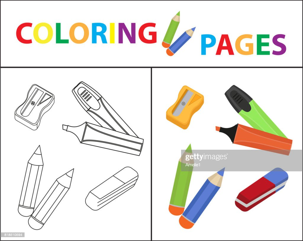 Coloring Book Seite Zurück Zu Schulset Marker Stifte Anspitzer ...