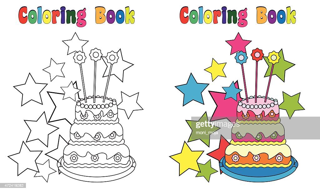 Coloring Book Page Birthday Cake Big