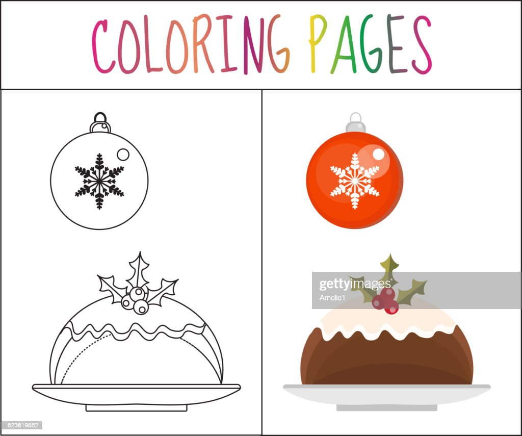 Coloring Book Page Christmas Pudding And A Ball Sketch Color ...