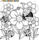 Coloring book page ladybugs and flowers