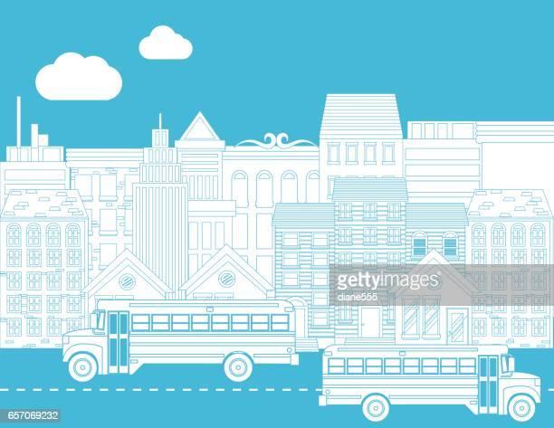 Coloring Book Seite - Schulbusse und Stadt