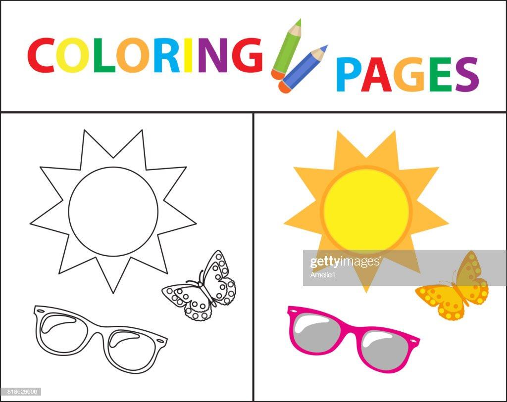 Coloring Book Seite Sommerset Gläser Sonne Schmetterling Skizze ...