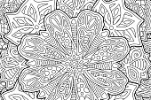 Coloring book page with beautiful floral art