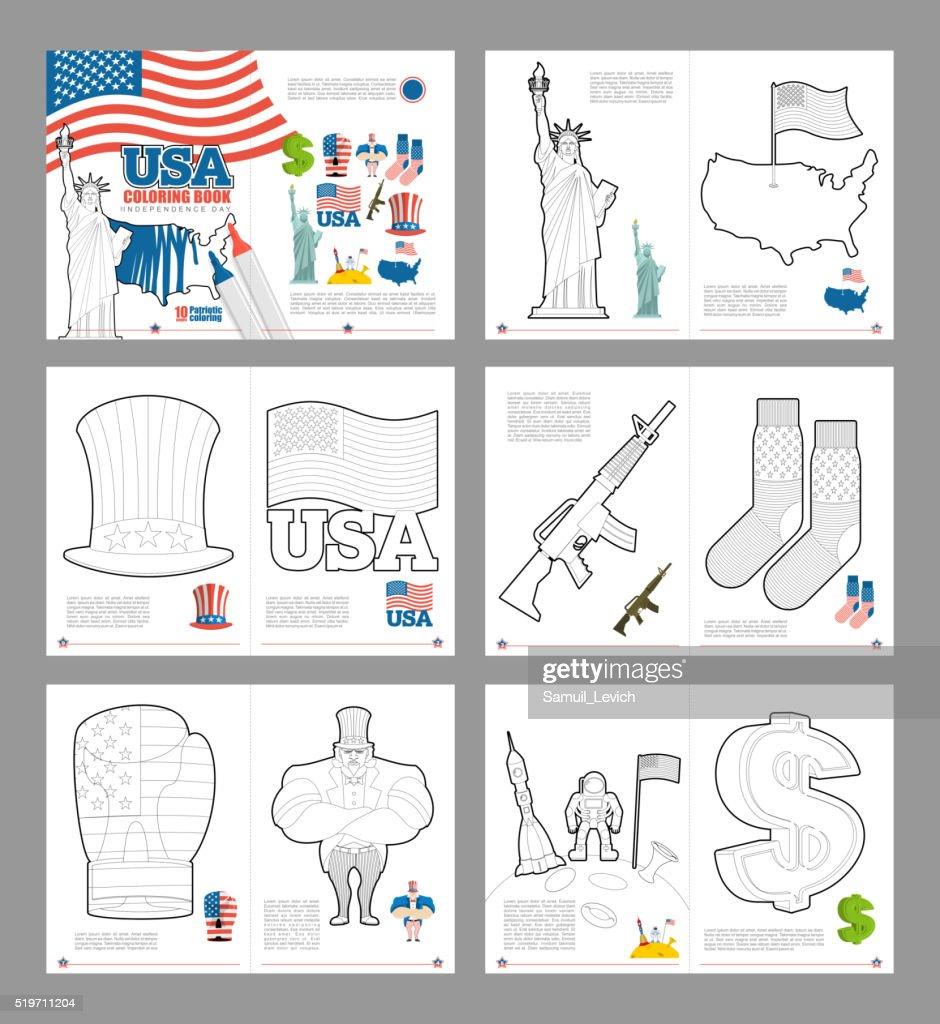 USA coloring book. Patriotic book for coloring. National Symbols