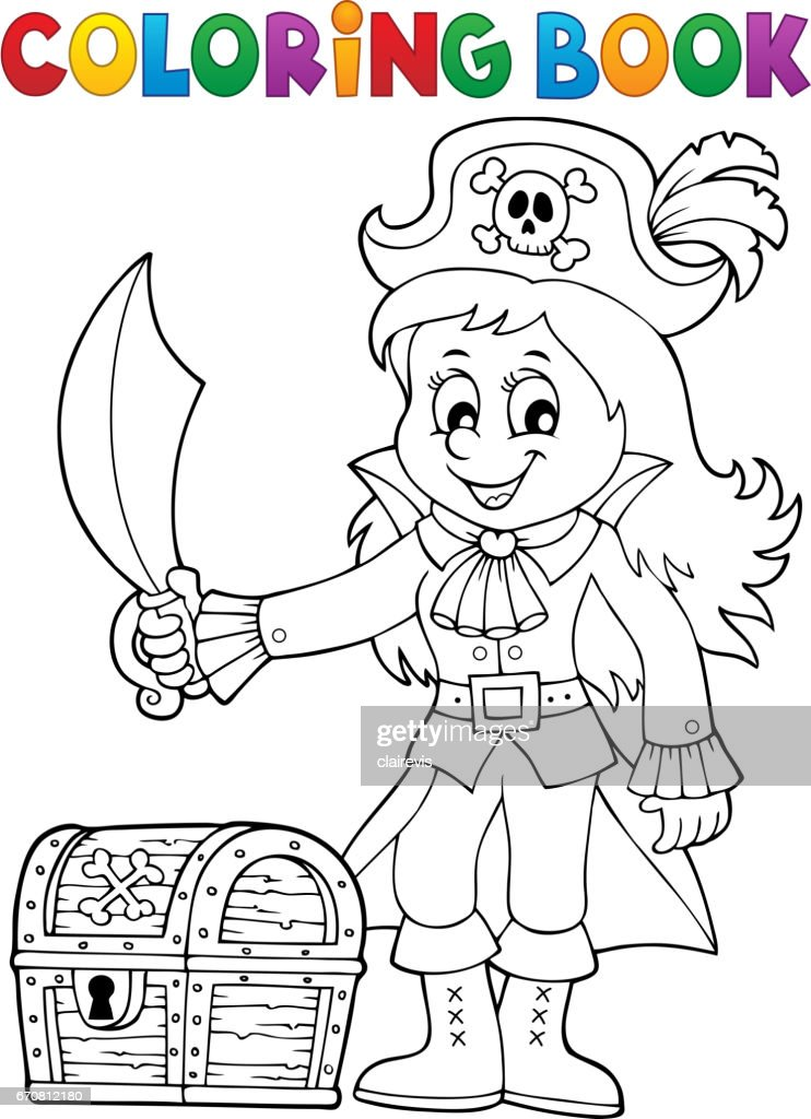 coloring book pirate girl theme 1 ベクトルアート getty images