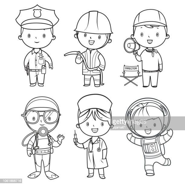 coloring book, professions kids set - producer stock illustrations, clip art, cartoons, & icons