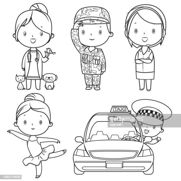 ilustraciones, imágenes clip art, dibujos animados e iconos de stock de libro para colorear, profesiones niños set - taxista