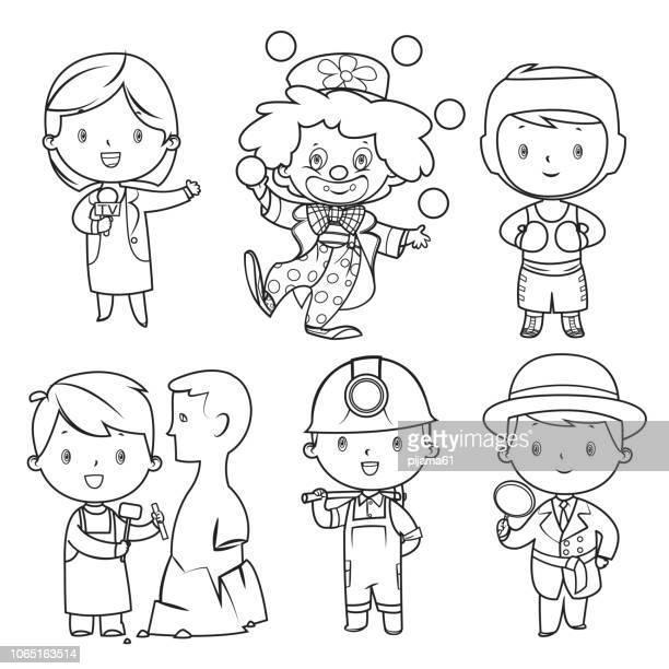 ilustraciones, imágenes clip art, dibujos animados e iconos de stock de libro para colorear, profesiones niños set - payaso