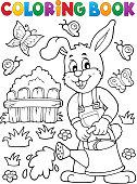 Coloring book rabbit gardener theme 2