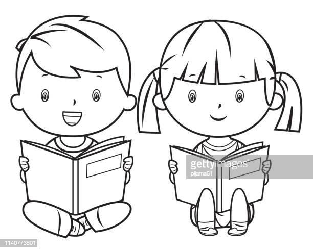 illustrations, cliparts, dessins animés et icônes de livre de coloriage, livre de lecture - jeunes garçons