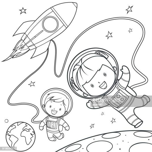 coloring book, rocket during a space travel. - illustration technique stock illustrations