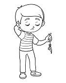 Coloring book, Sad boy hold burst balloon