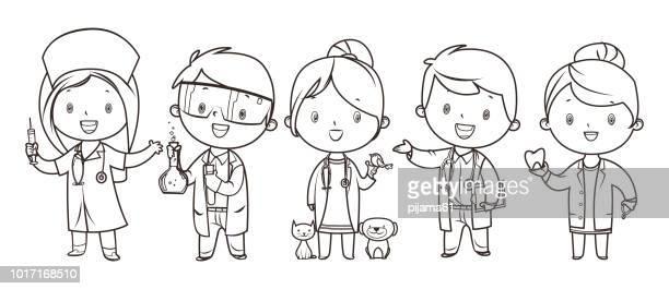 ilustrações, clipart, desenhos animados e ícones de livro de colorir, conjunto de crianças medicina e profissões de saúde - clip art