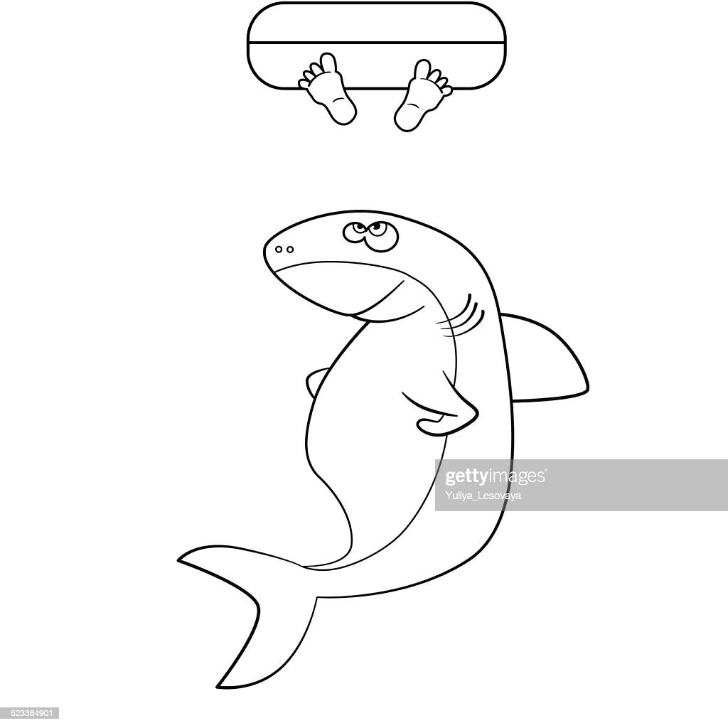 Coloring Book Shark And Mans Legs In The Ocean Vector Art | Getty Images