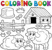 Coloring book sheep theme 1