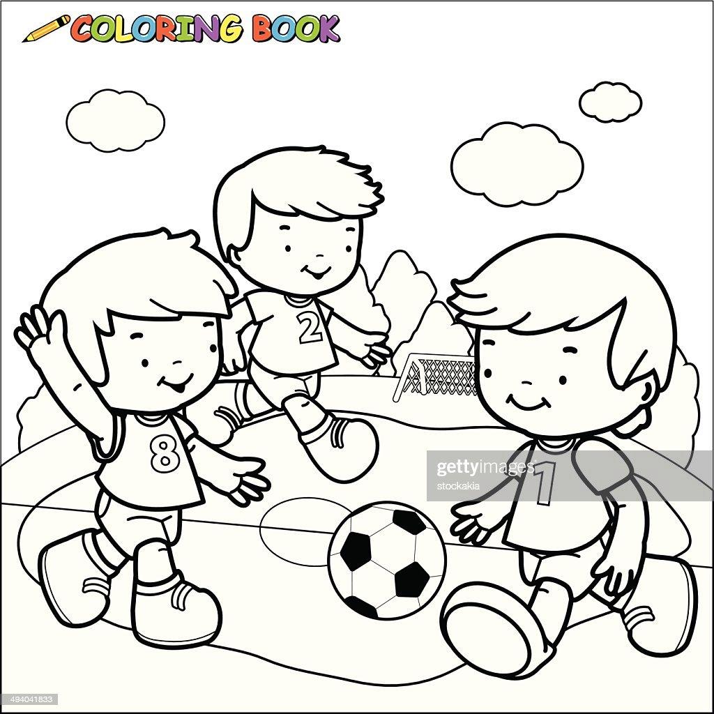 Coloring book Soccer kids