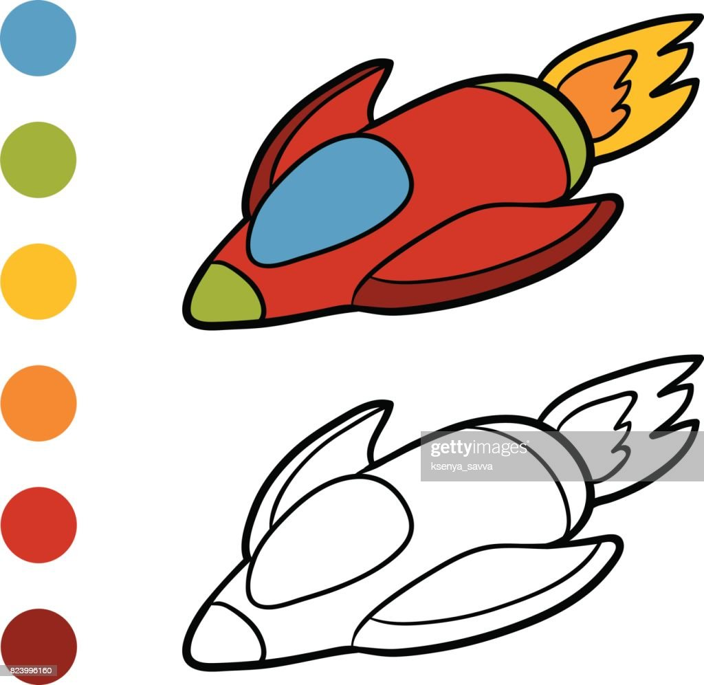Coloring Book Spaceship Vector Art   Getty Images