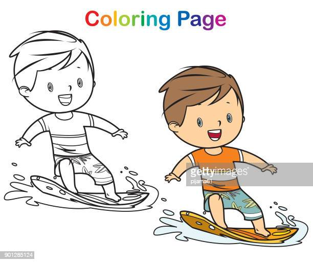coloring book surfer boy - beach holiday stock illustrations, clip art, cartoons, & icons