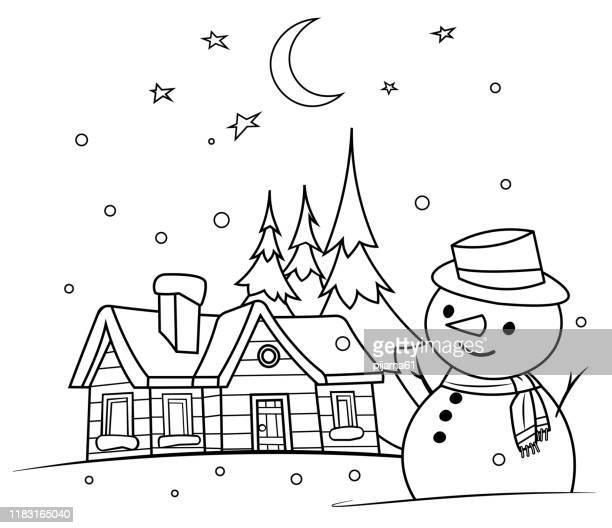 coloring book, winter night with a snowman - snowman stock illustrations