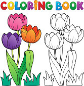 Coloring book with flower theme 4