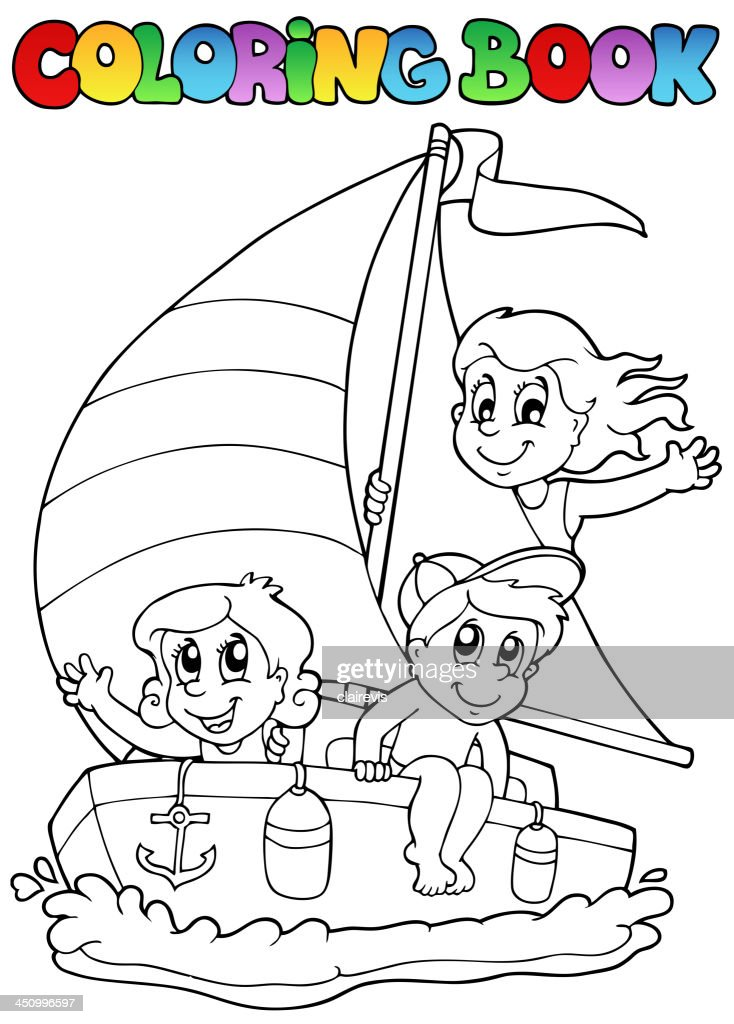 Coloring book with yacht and kids