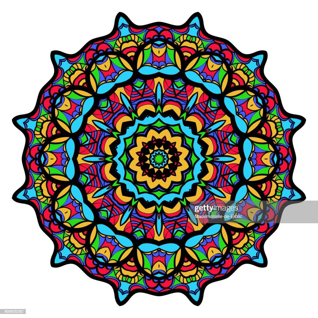 Coloriage Fleur Mandala Illustration Vectorielle Motif De Tatouage