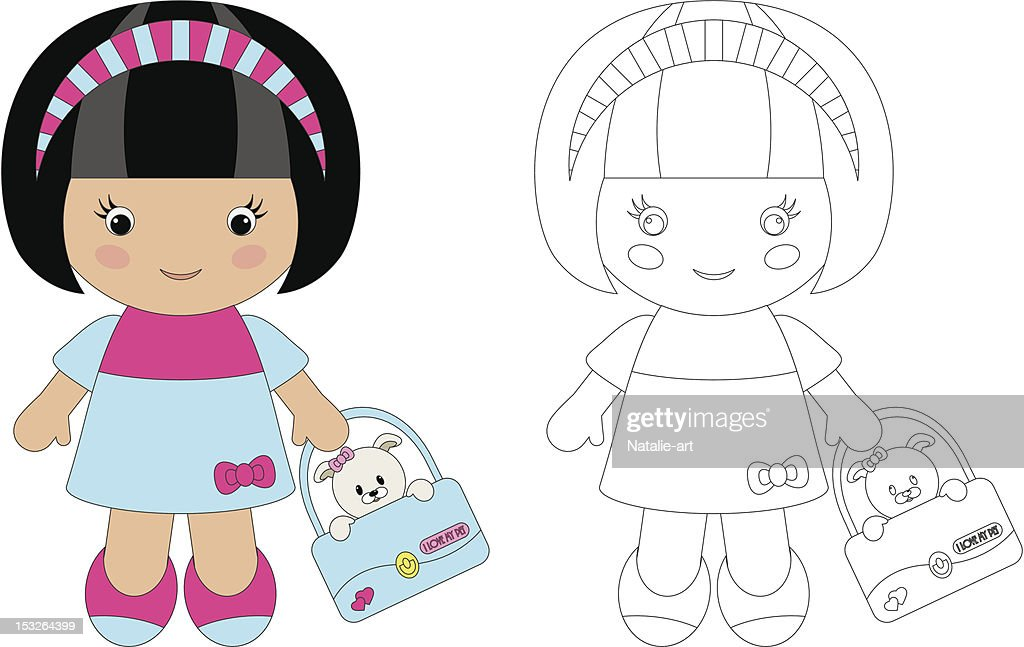Coloring for children. Cute girl with her pet