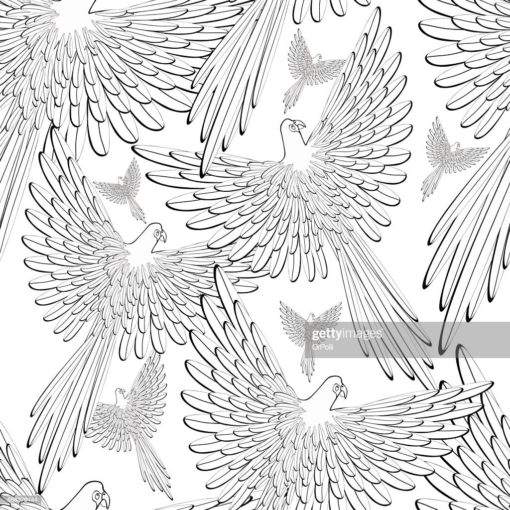 coloring of seamless pattern Red the Caribbean parrot flying. ve