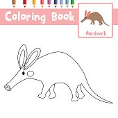 Coloring page Aardvark vector illustration
