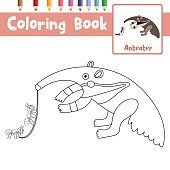 Coloring page Anteater eating ants vector illustration