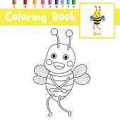 Coloring page Bee standing animal cartoon character vector illustration