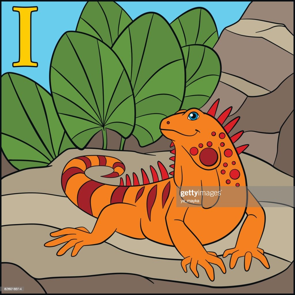 Coloring Page Cartoon Animals Alphabet I Is For Iguana Vector Art ...