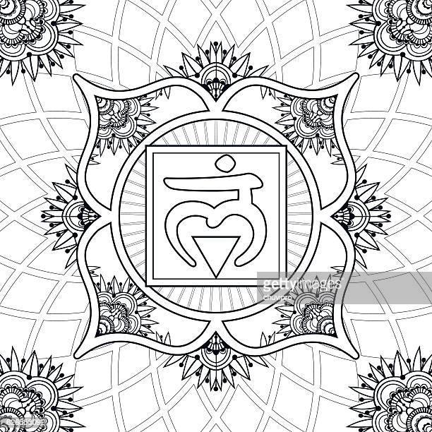 coloring page - chakra 1 - muladhara - nepal stock-grafiken, -clipart, -cartoons und -symbole
