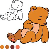 Coloring page. Color me: bear. Little cute baby bear.