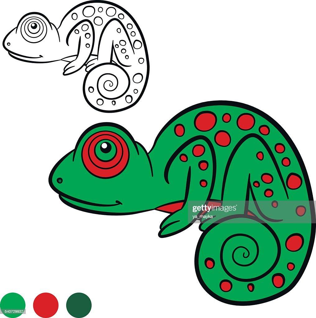 Coloring Page Color Me Chameleon Little Cute Green Chameleon Vector ...