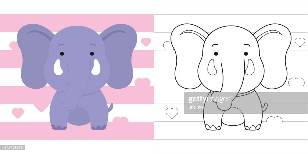 coloring page cute little elephant for education