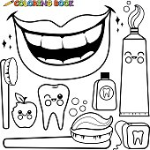 Coloring page dental hygiene vector set