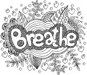 Coloring page for adults with mandala and breathe word. Doodle lettering ink outline artwork. Vector illustration.