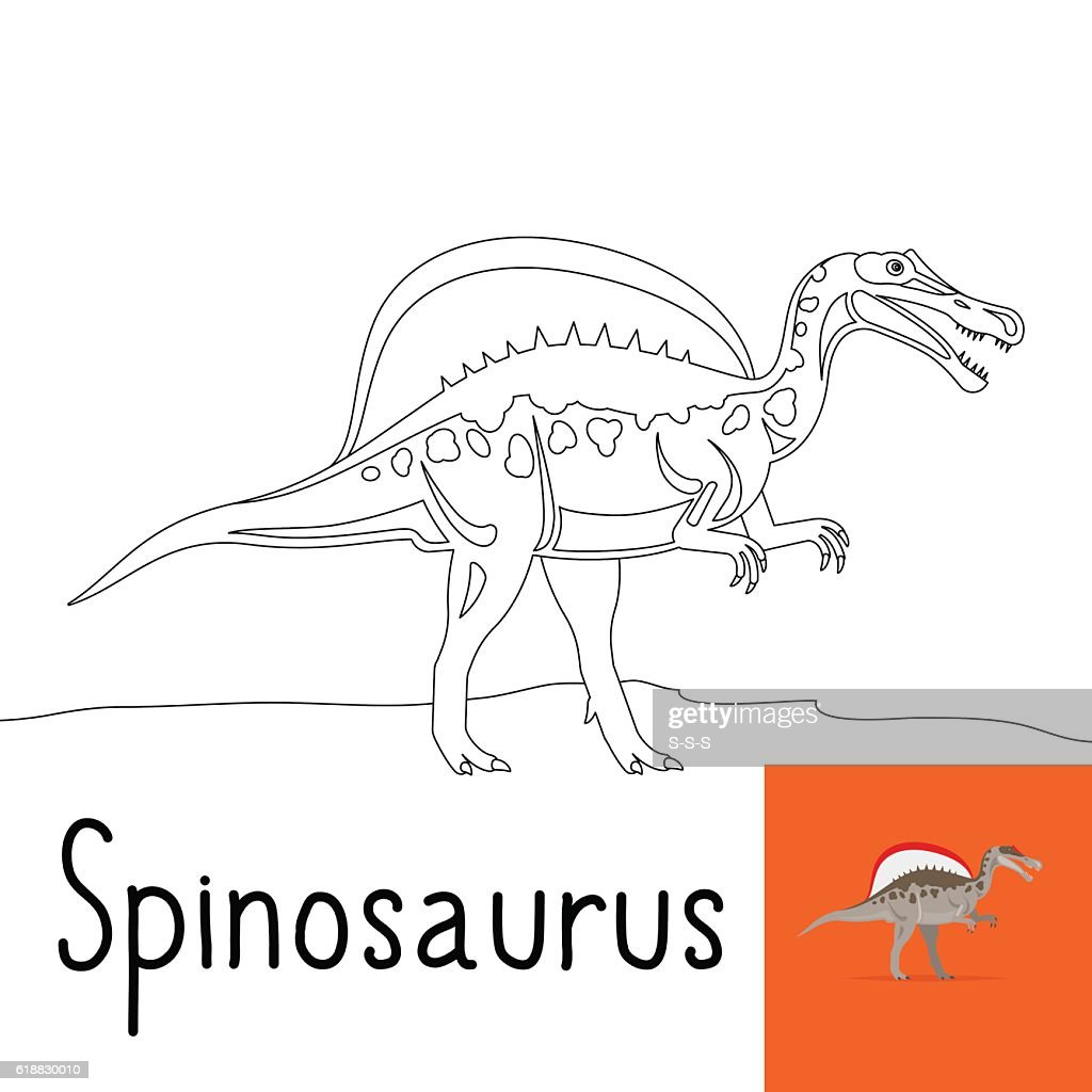 Coloring page for kids with Spinosaurus