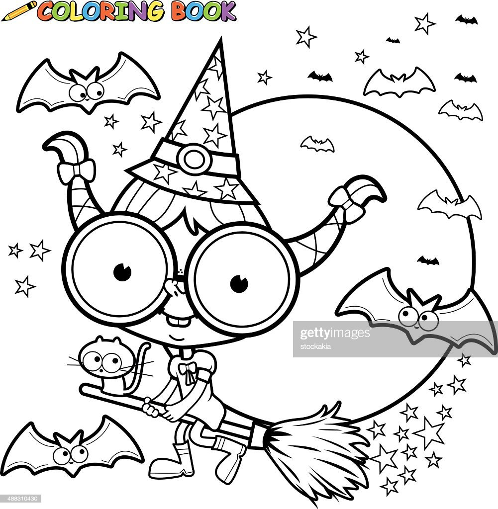 Coloring page Halloween witch flying with broom