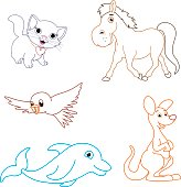 Coloring Page Illustration Of Cartoon Animals