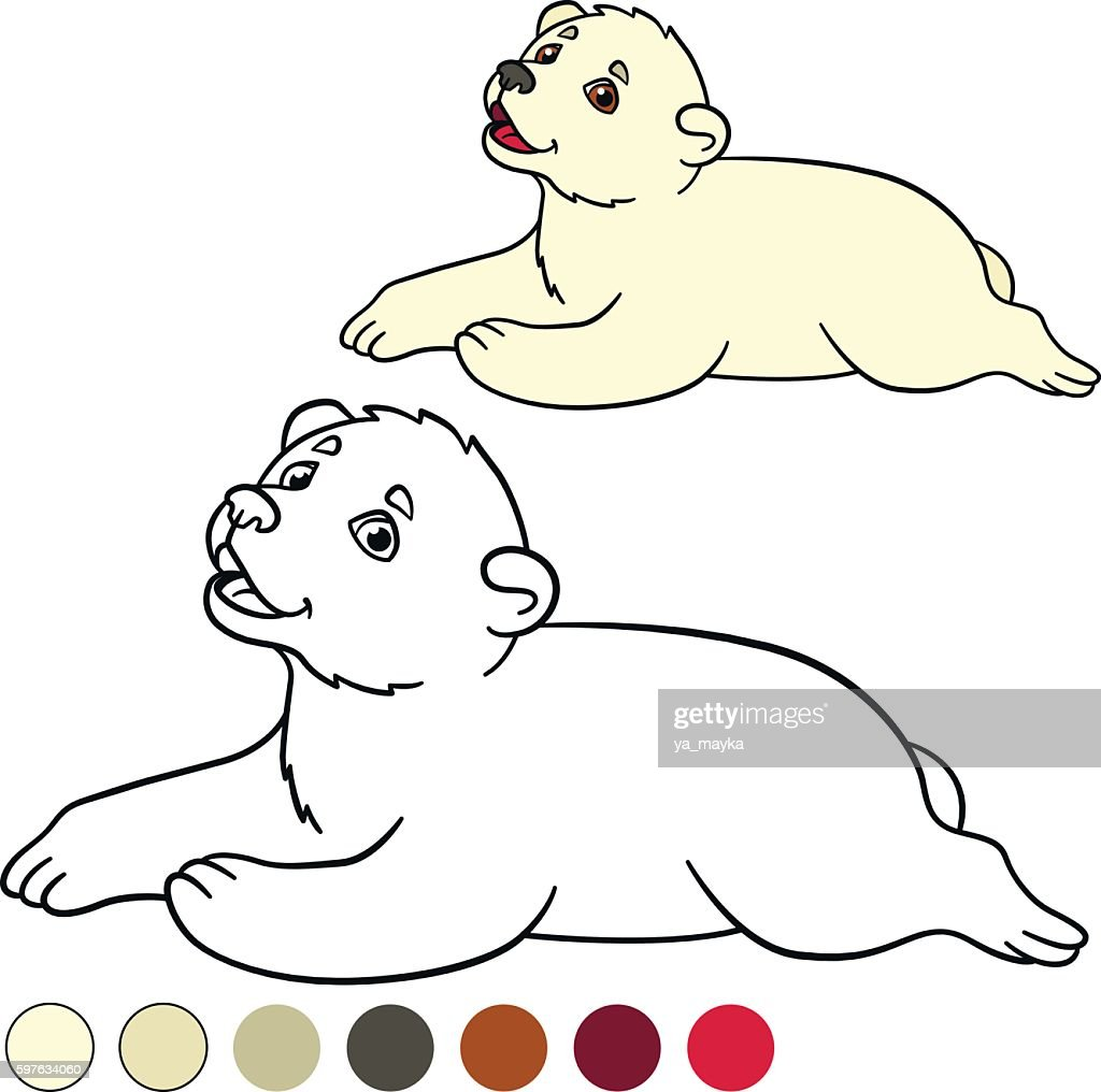 Coloring Page Little Cute Baby Polar Bear Vector Art | Getty Images