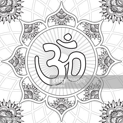 Coloring Page Lotus Flower Mandala With Aum Symbol Stock