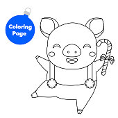 Coloring page. New Year pig holding candy cane
